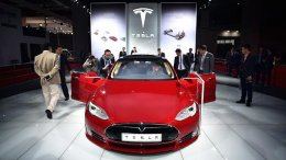 A Tesla Model S P85d car is displayed at the Shanghai International Automobile Industry Exhibition on April 20, 2015.